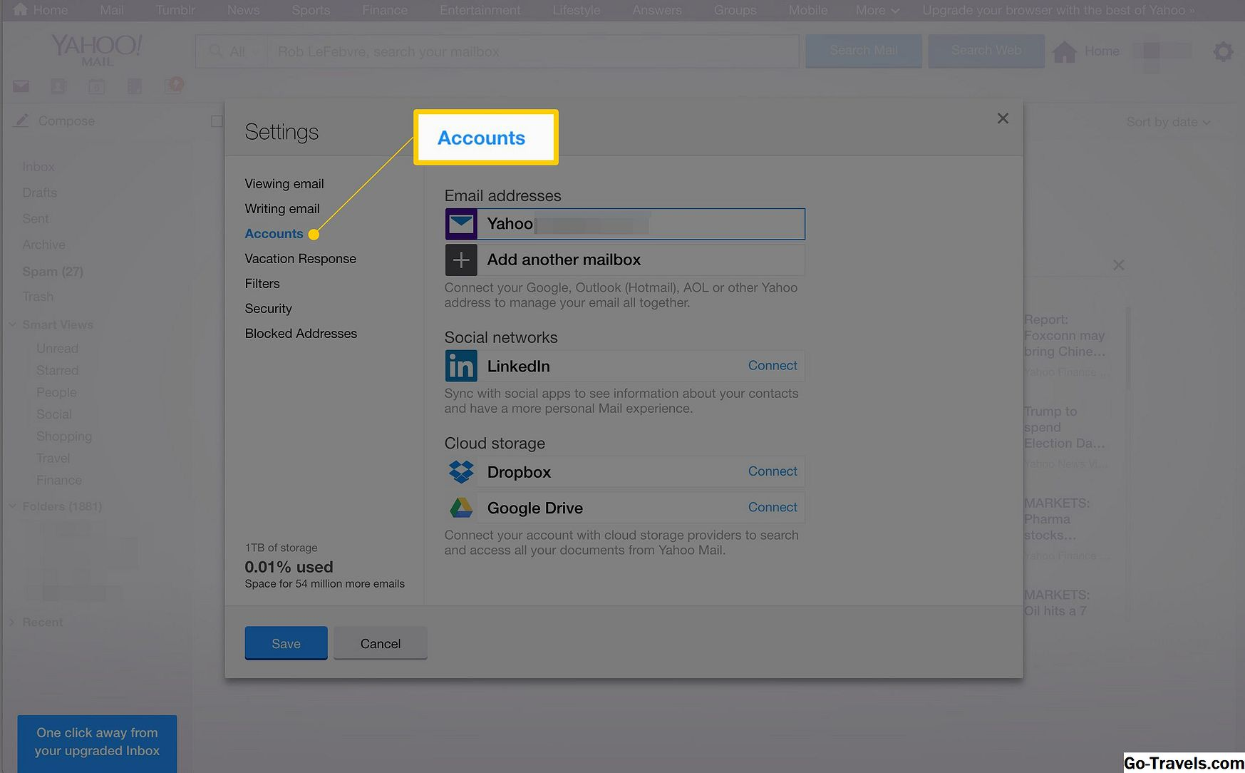 collegare Yahoo mail a Outlook